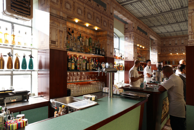 The director Wes Anderson designed the interior of a bar in Milan 6 The director Wes Anderson designed the interior of a bar in MilanThe director Wes Anderson designed the interior of a bar in Milan 6