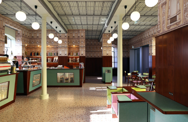 The director Wes Anderson designed the interior of a bar in Milan 7 The director Wes Anderson designed the interior of a bar in MilanThe director Wes Anderson designed the interior of a bar in Milan 7