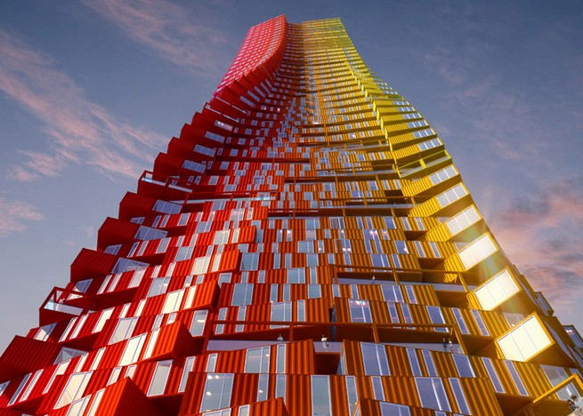 Shipping container skyscraper unveiled by CRG Architects Shipping container skyscraper unveiled by CRG ArchitectsShipping container skyscraper unveiled by CRG Architects