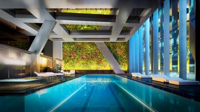 a vertical garden designed by patrick blanc overlooks a 65-foot lap pool Architecture landscape : Jean Nouvel's 53W53 skyscraper will be aside MOMA museum NYCArchitecture landscape new Jean Nouvel building will be aside MOMA museum NYC 4