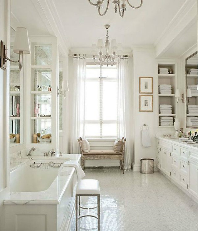 Fresh and light colour interior design inspiration for All white bathroom designs