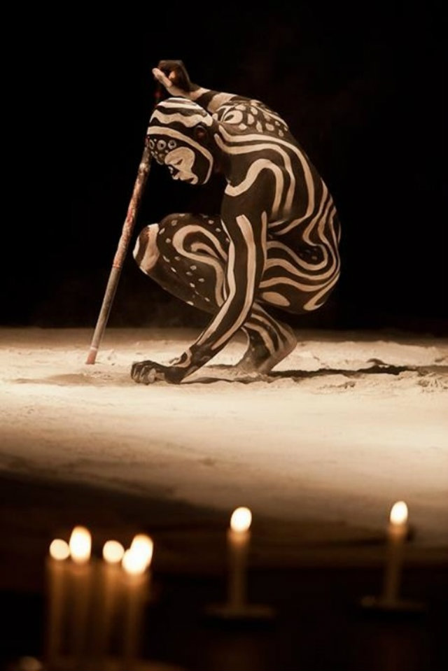 Design Inspiration from Indigenous Worlds  Design Inspiration from Indigenous Worlds Black man with white painted lines