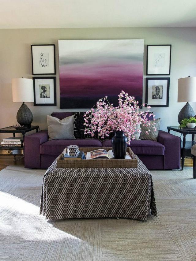 Eclectic look living room  Eclectic look living room Eclectic Livingroom Purple Pink flowers pattern table cloth