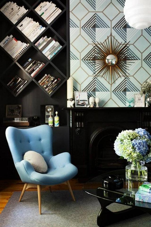 Eclectic look living room  Eclectic look living room Eclectic livingdroom baby blue armchair sun mirror