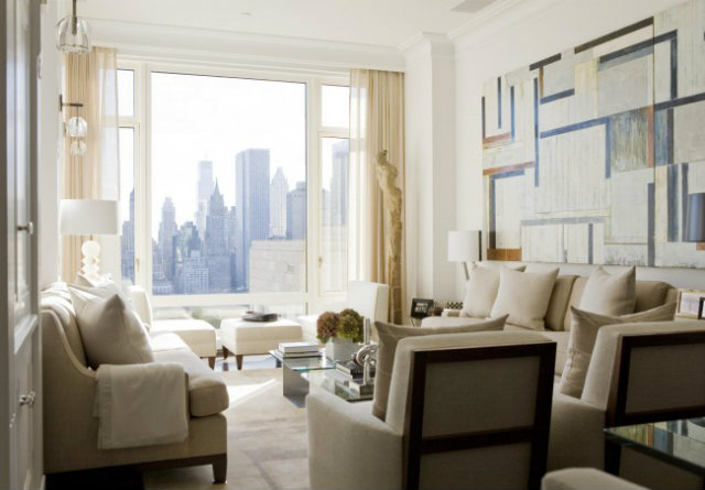 Light-Fresh-Livingroom-NYC-view-painting  Sophisticated look for a clean and estethic living room Light Fresh Livingroom NYC view painting
