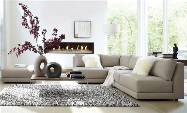 Light-Fresh-Livingroom-rock-vases-red-leaves-wool-pillows  Sophisticated look for a clean and estethic living room Light Fresh Livingroom rock vases red leaves wool pillows