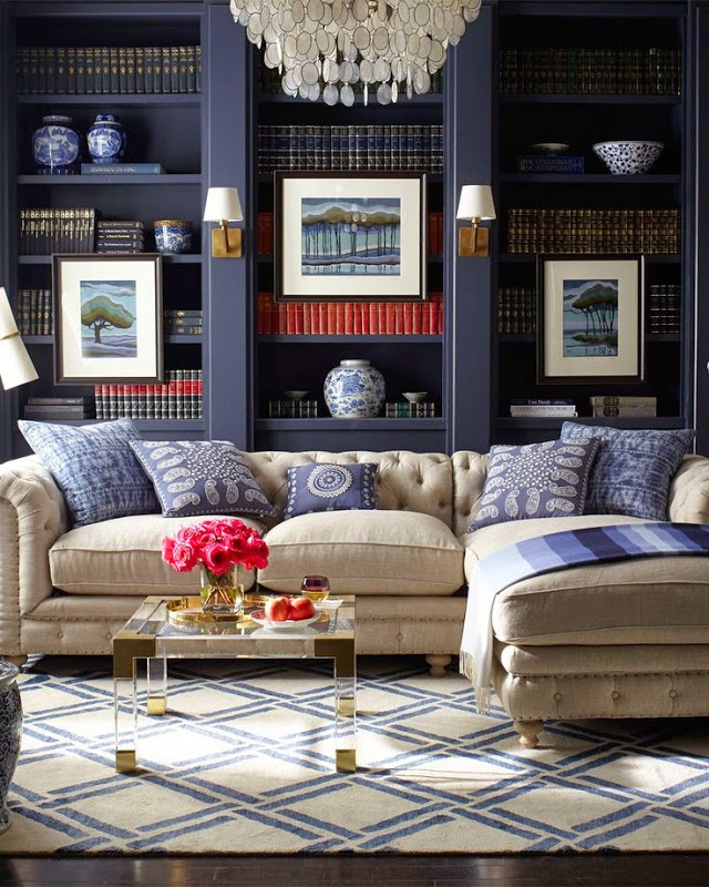 The beauty of contrast: modern rugs in traditional space  Inspiration by beauty of contrast: modern touches in traditional spaces with rugs Modern rugs traditional livingroom blue