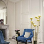 contemporary armchair and vintage lighting