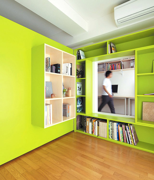 sSATURATED COLOR SCHEMES  SATURATED COLOR SCHEMES IDEAS switch apartment plywood door with built in bookshelves home office1