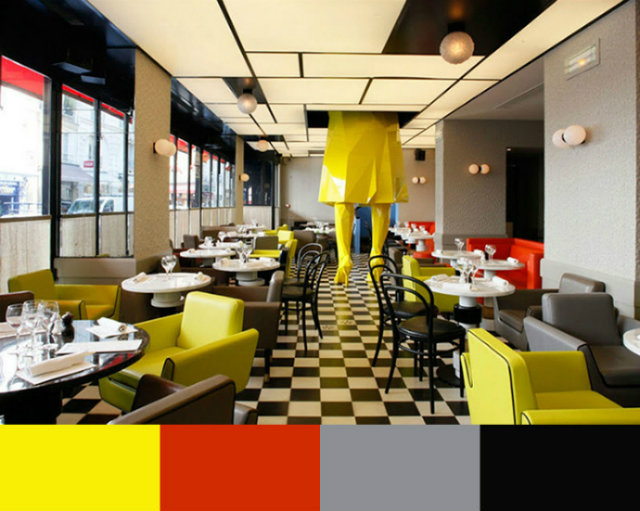 Restaurant interior design color schemes inspiration for Colorful interior design ideas