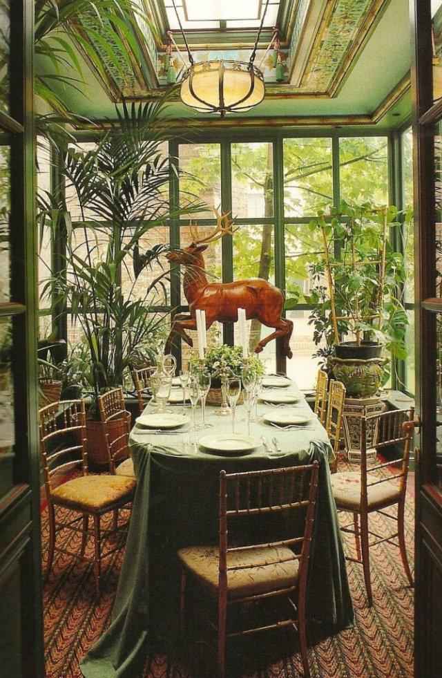 Boho Ethnic Style in Interior Design Projects  Boho-Chic Ethnic Inspiration in Interior Design Projects Boho diningroom green Deer plants