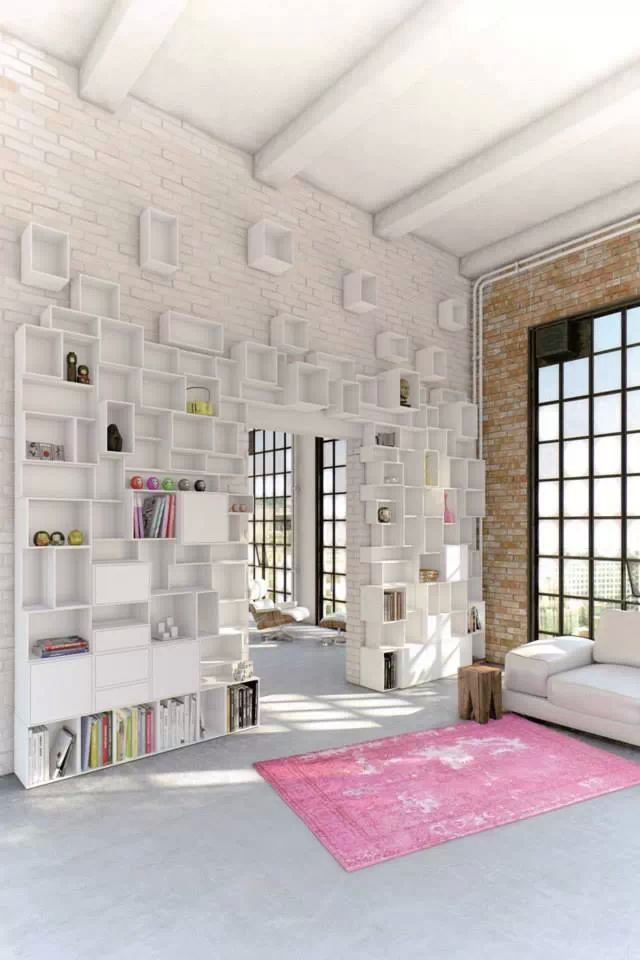 Bookshelves as an Exceptional Decor Detail  Bookshelves as an Exceptional Decor Detail Bookshelves exposed bricks white pink