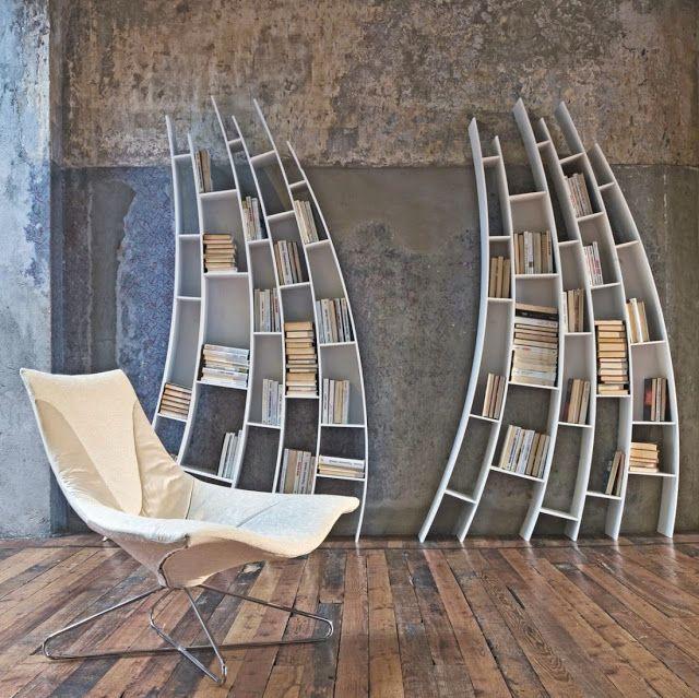 Bookshelves as an Exceptional Decor Detail  Bookshelves as an Exceptional Decor Detail Bookshelves interior design wavy white