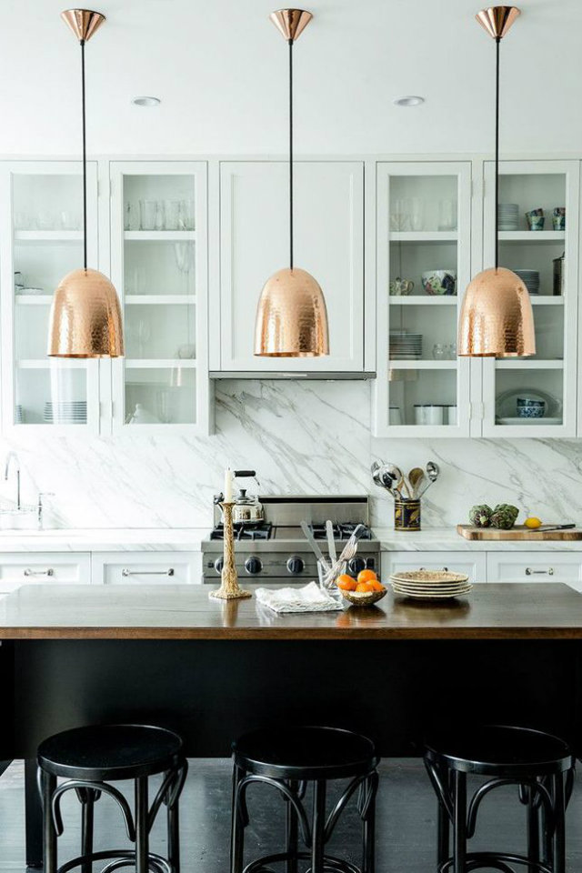 Hanging Light. The World of Chandeliers  Hanging Light Inspiration. The World of Chandeliers Copper hanging lights white mrable kitchen