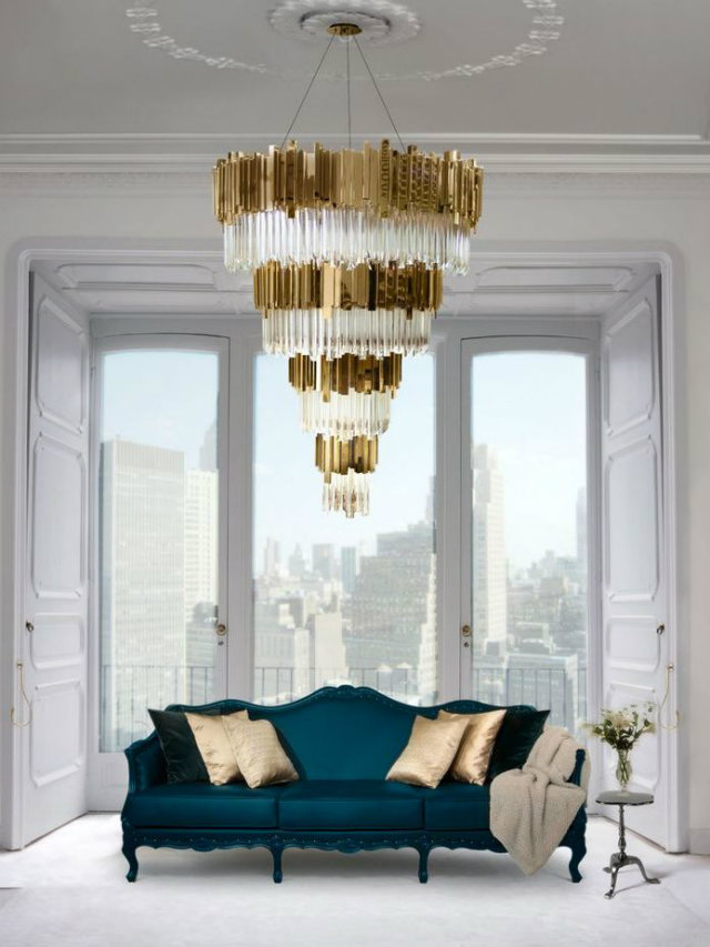 Hanging Light. The World of Chandeliers  Hanging Light Inspiration. The World of Chandeliers Glass golden metal chandelier green couch