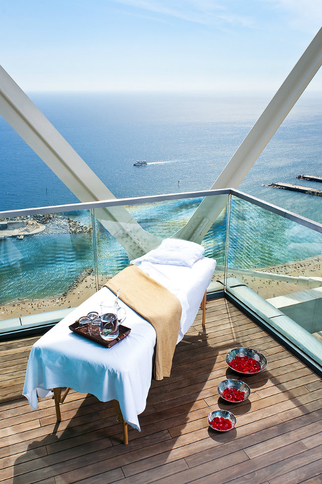 leading Spas in the Mediterranean  10 Ideas for a retreat in the Leading SPAs in the Mediterranean Hotel Arts Barcelona Spa Terrace with Massage Table