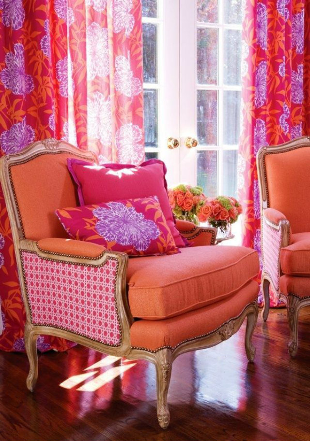Mix Your Fabrics with No fear colours and patterns Mix Your Fabrics, Colours and Patterns with No Fear Mixed Fabrics Birght Orange Hot Pink Armchair Flower Pillow