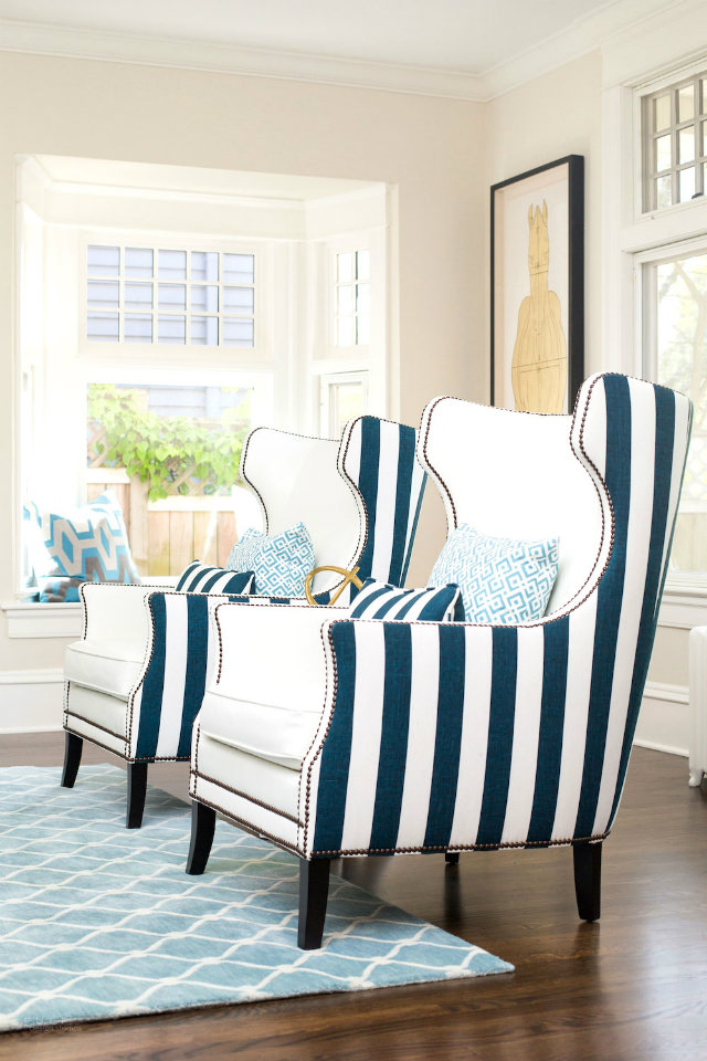 colours and patterns Mix Your Fabrics, Colours and Patterns with No Fear Mixed Fabrics White inside striped blue and white outside armchair