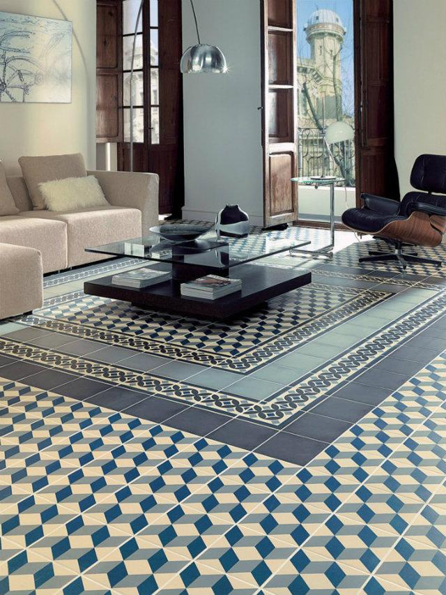 Mind Your Step! Luxury Pattern Floors  Mind Your Step! Luxury Pattern Floors Patterend floors blue beige tiles livingroom