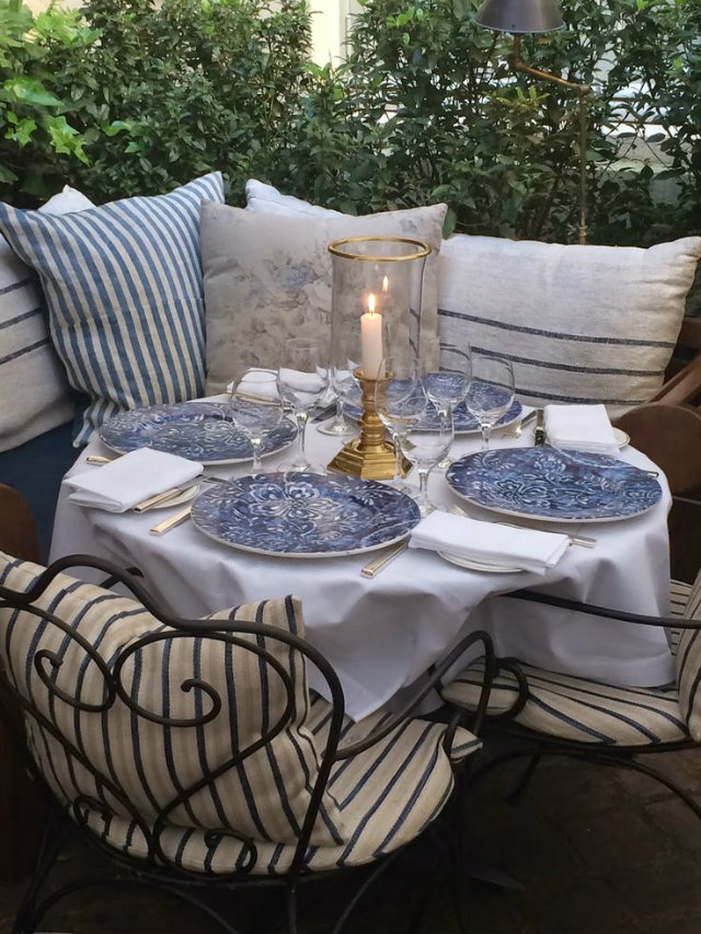 It's Time for Dinner Out! Summer Tables to die for.   It's Time for Dinner Out! Summer Tables to die for. Summer outdoor table pillows wrought chairs blue plates