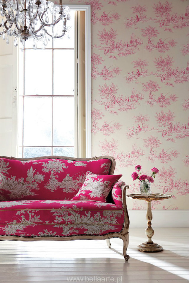 Ancient vs. Modern Looks. Toile de Jouy Revisited  Classic vs. Modern Looks: the Toile de Jouy Revisited Toile de Jouy Hot Pink Sofa