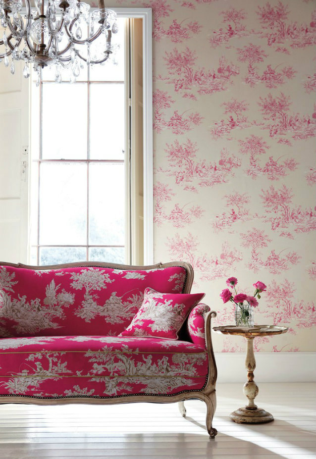 Classic vs. Modern Looks. Toile de Jouy Revisited toile de jouy Classic vs. Modern Looks: the Toile de Jouy Revisited Toile de Jouy Hot Pink Sofa1