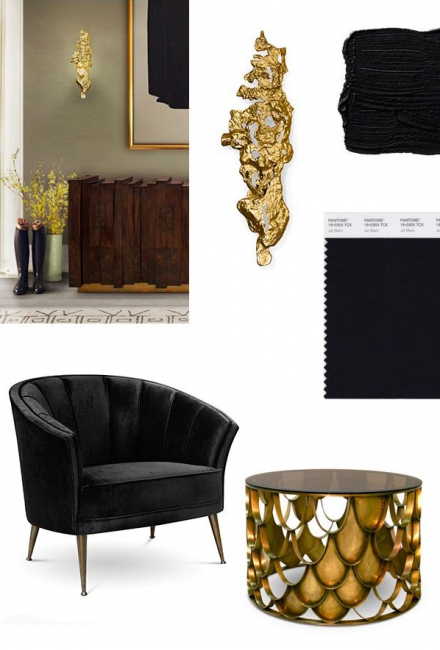 BLACK & GOLD Mood Board for a Stylish Living Room