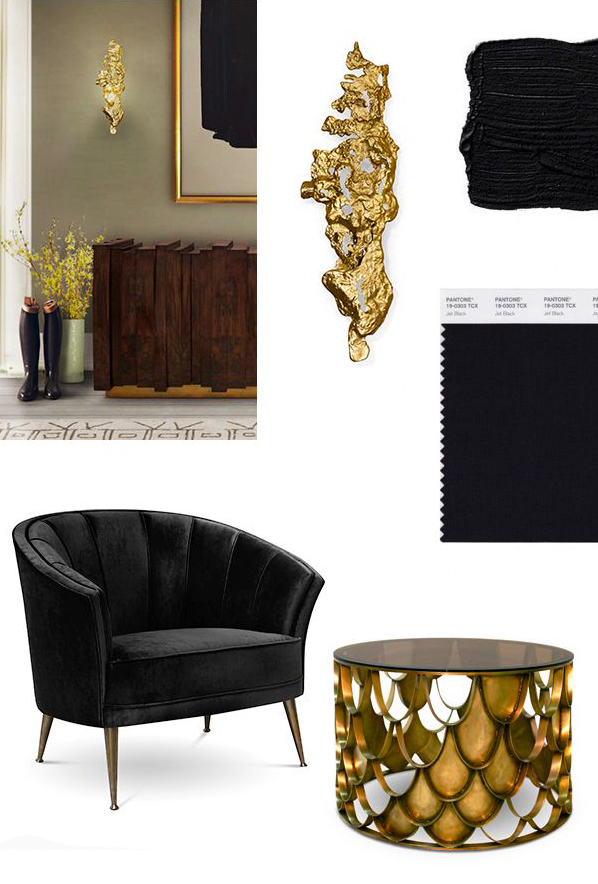 BLACK & GOLD Mood Board for a Stylish Living Room gold black mood board ideas