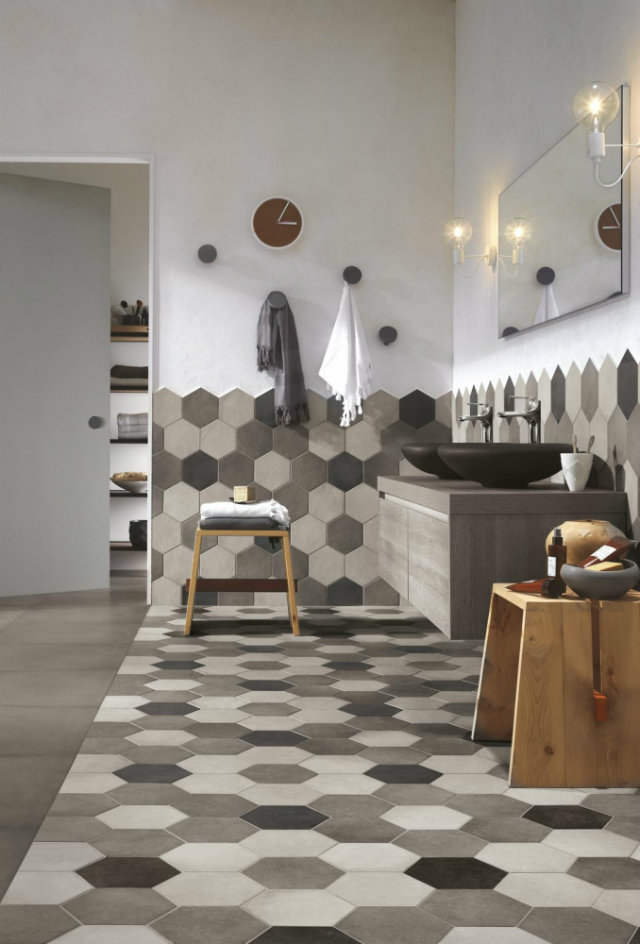 Mind Your Step! Luxury Pattern Floors  Mind Your Step! Luxury Pattern Floors patterend floor and walls bathroom grey scale