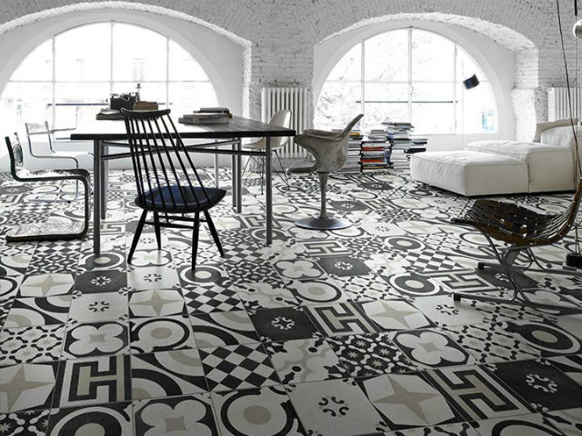 Mind Your Step! Luxury Pattern Floors  Mind Your Step! Luxury Pattern Floors patterned floor black white studio