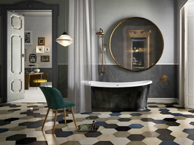 Mind Your Step! Luxury Pattern Floors  Mind Your Step! Luxury Pattern Floors patterned floor with bathtub