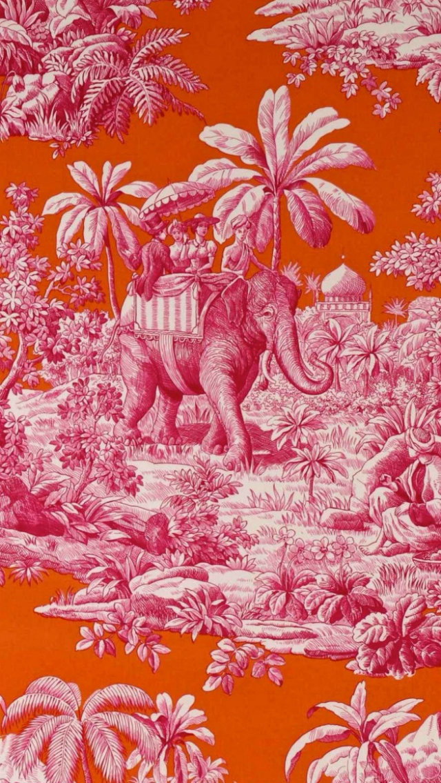 Ancient vs. Modern Looks. Toile de Jouy Revisited toile de jouy Classic vs. Modern Looks: the Toile de Jouy Revisited toile de jouy orange pink elephant