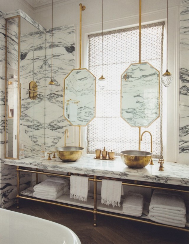 Metal-Details-Bathroom.Brass-mirror-sink-tap-marble-wall  The Marble Bathroom – a unique home décor material Metal Details Bathroom