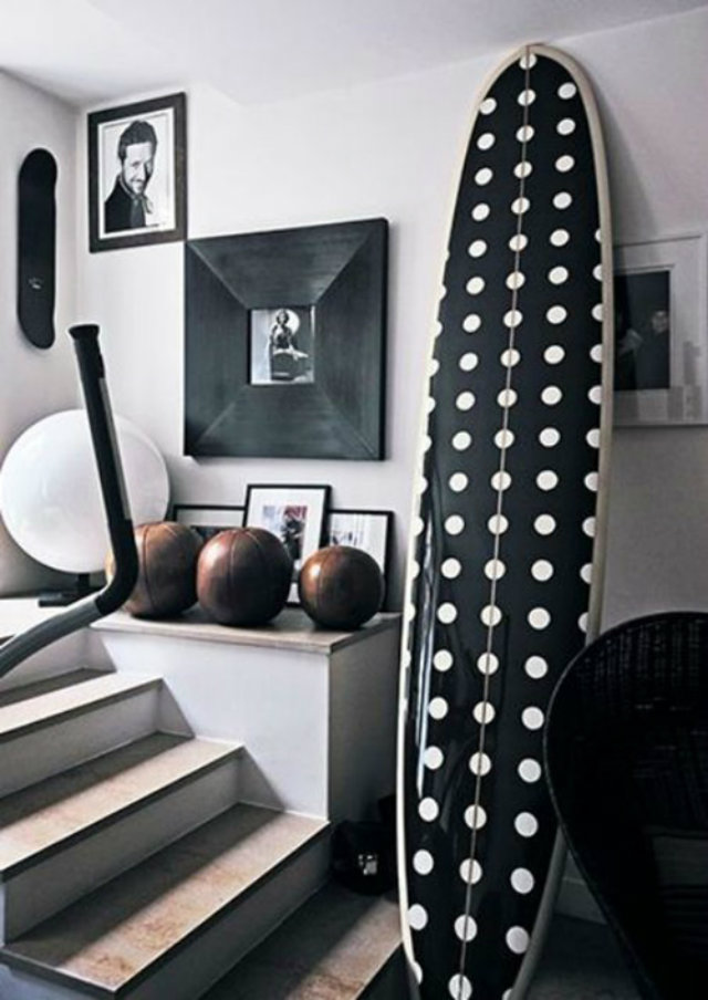 Polka-Dot Pattern Passion Mood Board   Polka-Dot Pattern Passion Mood Board Ideas Polka dot Black White Surf Board