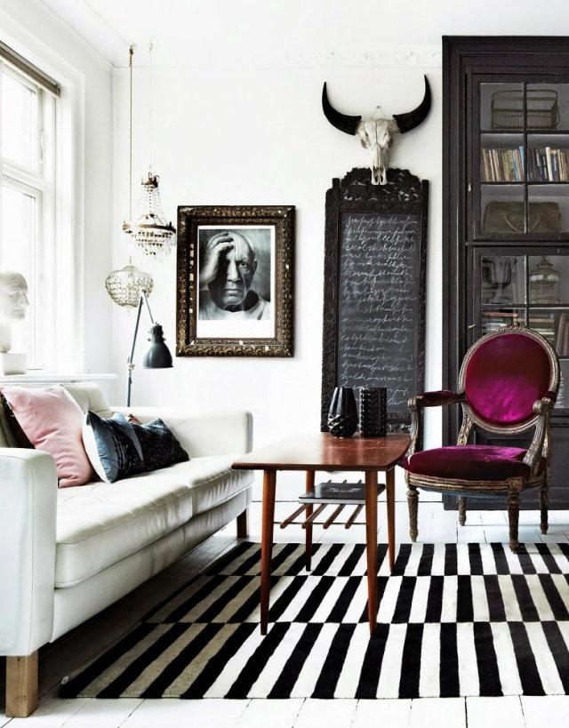 Fascinating Black White Living Room Stripes