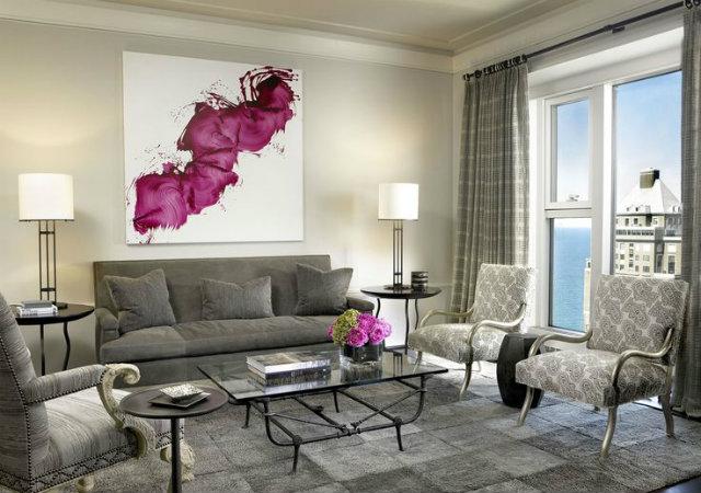 grey and fuschia living room KARA MANN BEST DESIGN INSPIRATIONS BY KARA MANN BEST DESIGN INSPIRATIONS BY KARA MANN grey and fuschia living room