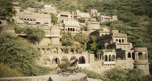 Bhangarh Fort in India is sometimes referred to as the most haunted place in India. Local authorities do not recommend overstays in the palace after sunset.  haunted mansions Top 15 Haunted Mansions to Inspire Your Halloween Weekend HALLOWEEN 15 BHANGARH FORT INDIA