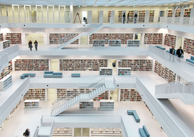 Inspiration off white is the trend colors 2016 White Library Stuttgart Germany