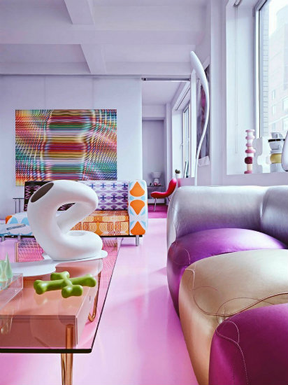 Living room in bright colours karim rashid Inspirations by Top Designer Karim Rashid Karim Rashid Living Room and Interiors projects with bright Colours