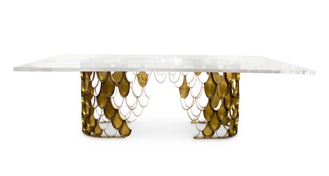 Koi II large rectangular 8 seat acrylic brass dining table modern dining tables Top 50 Modern Dining Tables Koi II large rectangular 8 seat acrylic brass dining table