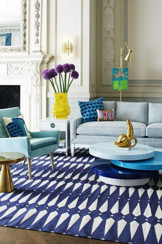 Blue living room JONATHAN ADLER TOP 25 PROJECTS BY JONATHAN ADLER Blue living room