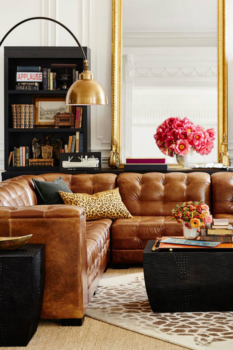 Living Room Inspiration: Tan Leather Sofa living room inspiration Living Room Inspiration: Tan Leather Sofa 15 con que combina un sofa cuero marron chic