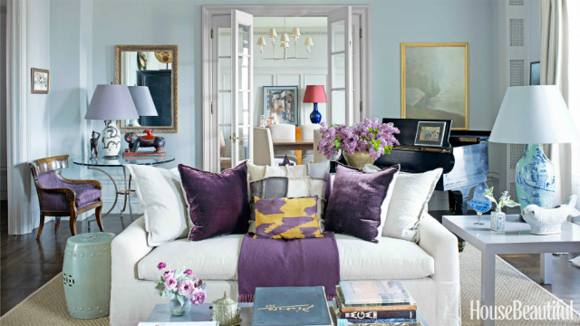 Beautiful living room ideas with a white sofa Purple accent wall in living room