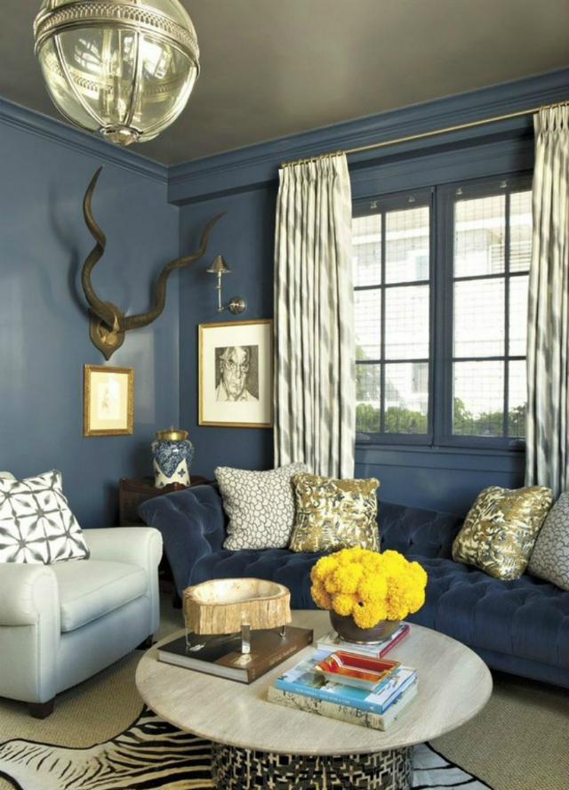 Living room inspiration blue sofa - Apartment living room decor ...