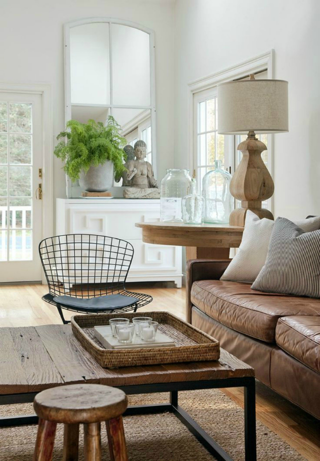 Living Room Inspiration: Tan Leather Sofa