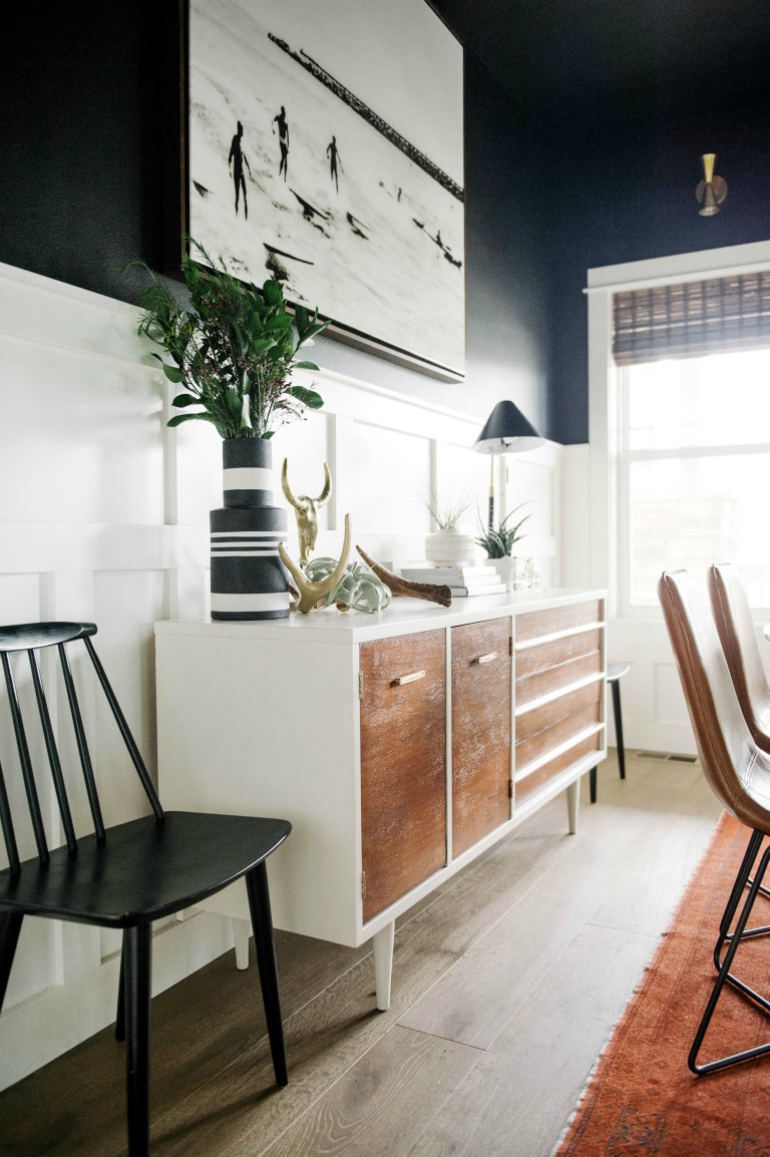10 sophisticated dining room sideboard designs you will - Black walls in dining room ...