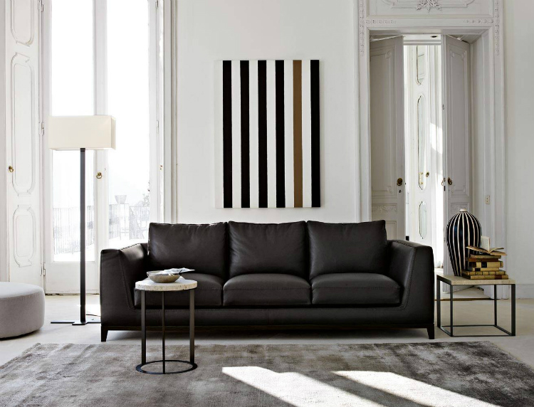 leather sofas leather sofas Embrace the New Year with These Stunning Black Leather Sofas Lutetia SOFAS Antonio Citterio