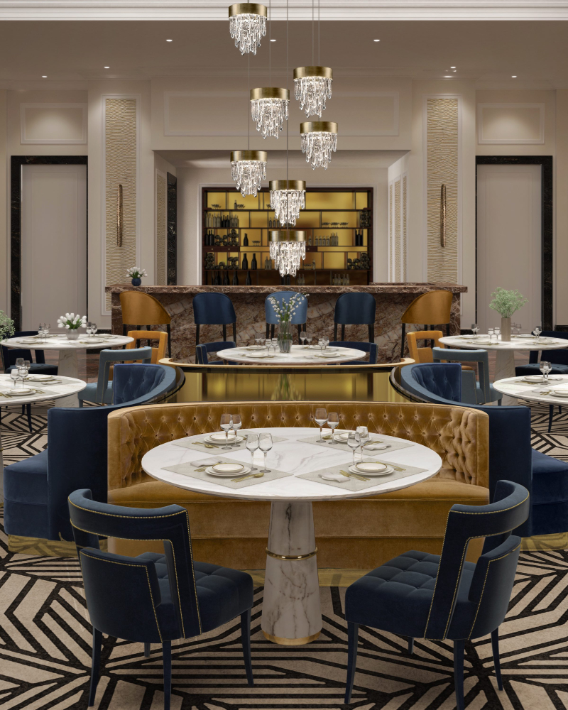 romanek studio projects ROMANEK STUDIO PROJECTS: Crème de la Crème Interiors from Los Angeles BB Hotel 9 Restaurant with Agra Dining Table 1