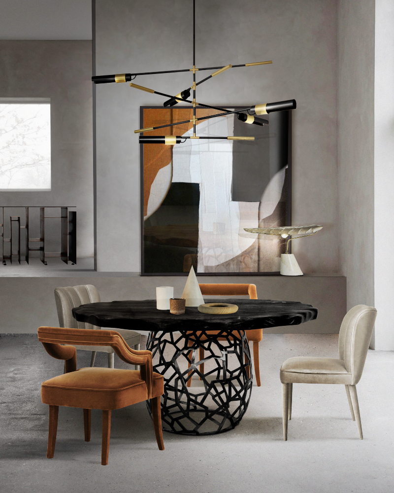 all you need to know about ryan saghian interiors All you need to know about Ryan Saghian Interiors CONTEMPORARY DINING ROOM WITH APIS DINING TABLE Falta 1