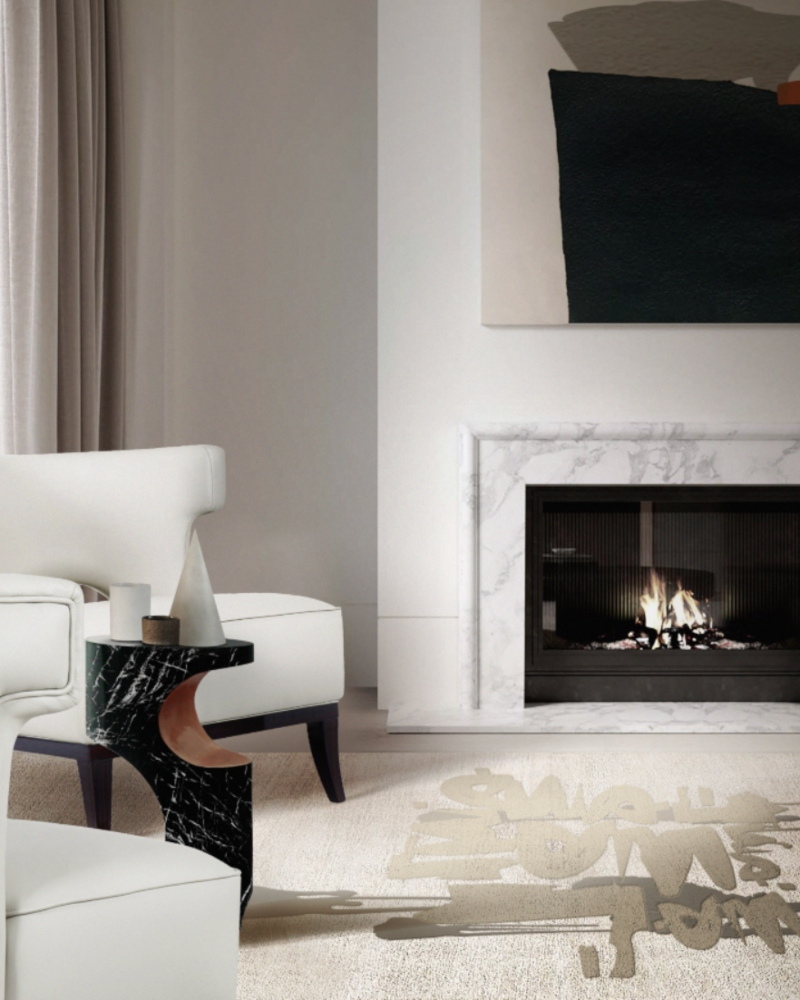 A contemporary living room with neutral colours and Bryce Side Table in marble to create a contrast in this amazing interior design set!  Home Design Ideas by Marshanah Interiors BB bryce side urban collection 1 1